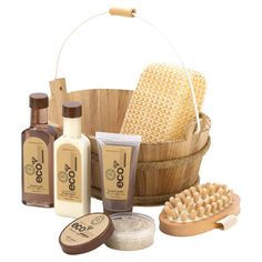 Eco-friendly spa set in a planked basket.  Product: Shower gel LotionBubble bathBath crystalsMassaging b...