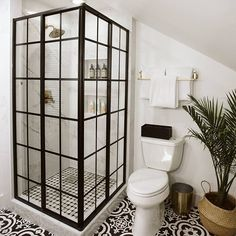 One Room Challenge Featuring DreamLine! Upstairs Bathrooms, Small Bathroom, Master Bathroom, Dyi Bathroom, Bathroom Hacks, Bathroom Cleaning, Bathroom Cabinets, Modern Shower Doors, Corner Shower Enclosures