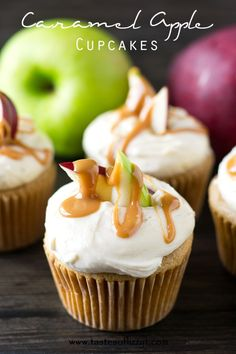 Caramel Apple Cupcakes. Soft cupcakes flavored with apple and caramel in both the cupcake and the buttercream. Decorate the top with apple slices and drizzle with caramel for a pretty look!http://www.tastesoflizzyt.com/2014/08/13/caramel-apple-cupcakes/