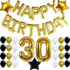 30th Birthday Party Decorations Kit, Happy Birthday Letters, 30th Gold Number Balloons,Gold Black and White Latex Balloons, Number 30, Perfect 30 Years Old Party Supplies,Free Bday Printable Checklist - http://partythings.com/30th-birthday-party-decorations-kit-happy-birthday-letters-30th-gold-number-balloonsgold-black-and-white-latex-balloons-number-30-perfect-30-years-old-party-suppliesfree-bday-printable-checklist.html