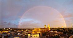 Arco-íris em Rocha, no Uruguai, ao entardecer.
