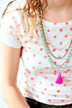 Four Bead Chain Necklace With Neon Pink Tassel, Multi Chain Necklace,   Nest Pretty Things