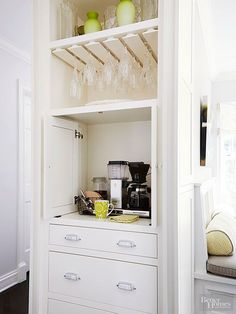 Make sure your kitchen remodel gives it plenty of functionality and storage so it becomes your favorite room in your home! We show you real life kitchen renovations that pack in plenty of style savvy storage to keep your kitchen utensils, pots, pans and small appliances out of the way and in organized cabinets. Keep your kitchen counter clutter free with these storage addition ideas.