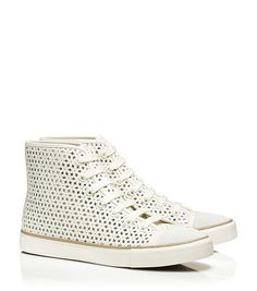 Tory Burch Floral Perforated High-Top Sneaker