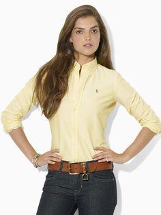 Megan Solid Oxford Shirt - Long-Sleeve   Shirts - RalphLauren.com
