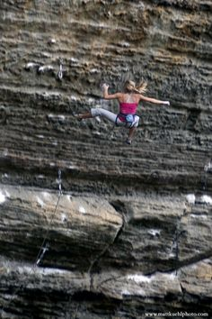 Sasha Digiulian taking a big whip off of The Madness, RRG. These falls (dangerous as they may be) make lead climbing so worth it. Climbing Girl, Sport Climbing, Ice Climbing, Mountain Biking, Mountain Climbing, Beach Volleyball, Trekking, Ski, Rock Climbing