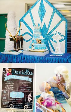 Love this glittering snowflake backdrop for a Frozen Birthday Party!