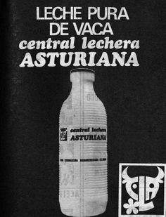 Anuncio de CENTRAL LECHERA ASTURIANA de 1972, dos años después de iniciar su producción en la factoría de Granda, en Siero, y un año después de haber lanzado al mercado la primera botella de plástico no retornable