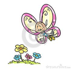Butterfly flight flowers cartoon illustration    image animal insect character