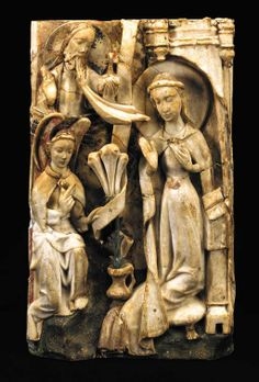 The Annunciation. Nottingham alabaster panel ; Early C15th. Such panels, produced in the Midlands in England, were prized all over Europe.