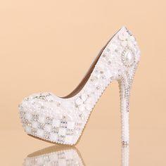 chaussures mariage luxueux princesse à talon aiguille escarpins pas cher incrustées perles brillantes
