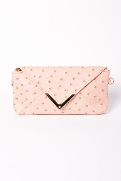 Faux Ostrich Wallet in Pink