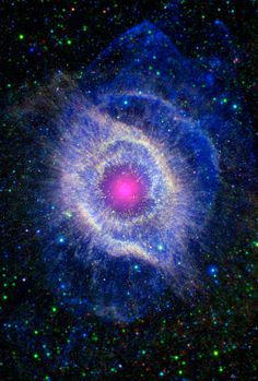 """The Helix Nebula is a large planetary nebula located in the constellation of Aquarius. Sometimes referred to as the """"Eye of God"""", it is one of the closest planetary nebula to Earth. Helix Nebula, Orion Nebula, Planetary Nebula, Carina Nebula, Andromeda Galaxy, Cosmos, Space Photos, Space Images, Spitzer Space Telescope"""