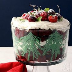 This Christmas Trifle makes for a showstopping centerpiece on your holiday table. With layers of cream cheese frosting, plus cubes of red velvet cake, it's decadent, delicious, and showy all at once.