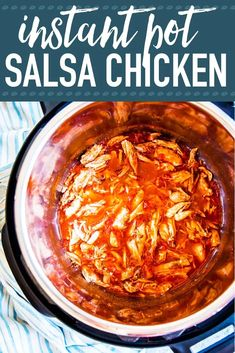 Instant Pot Salsa Chicken is an easy and tasty dinner recipe you can make in no time at all. Use it in tacos or over rice, or add it to a healthy dinner salad. | #recipe #easyrecipes #dinner #easydinner #chicken #chickenrecipes #instantpot #instantpotrecipes #chickendinner #instantpotchicken #kidfriendly #familyfriendly #healthyfood #healthyrecipes #healthyliving #cleaneating #cleaneatingrecipes
