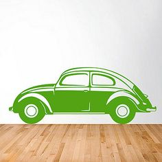 Beetle wall sticker in blue with surf board