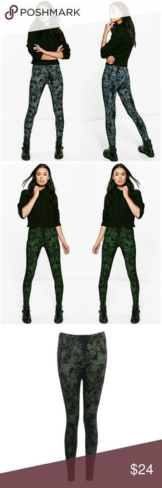 ASOS Marble Leggings From ASOS, Made by Boohoo of Manchester UK.  Size 4 in a gray/blue or green selection. Fabric: 95% Viscose, 5% Elastane. Elasticated Waist. Brand new with tags. ASOS Pants Leggings