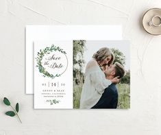 Greenery Hoops Wedding Save the Date cards Save The Date Pictures, Modern Save The Dates, Wedding Save The Dates, Elope Wedding, Save The Date Cards, Wedding Tips, Wedding Details, Wedding Engagement, Engagement Photos
