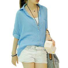 Allegra K Women Single Breasted Rolled Up Sleeve Semi Sheer Summer Shirt XS Allegra K. $10.54