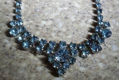 Shimmering Blue Rhinestone Earrings and Necklace at Koolbeanzz
