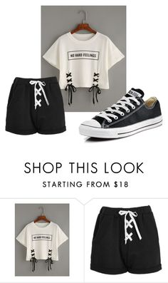 """Untitled #88"" by faseeha-noor ❤ liked on Polyvore featuring WithChic, Boohoo and Converse"