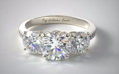 4.9CT Perfect Three Stone Journey Russian Lab Diamond Promise Engagement Anniversary Wedding Ring