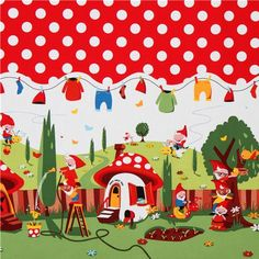 I am obsessed with this Gnomeville fabric! I want to decorate everything in my house with it! Red Fabric, Polka Dot Fabric, Cotton Fabric, Polka Dots, Tissu Michael Miller, Michael Miller Fabric, Boutique Kawaii, Textiles, Border Print