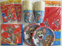TOM and JERRY - Birthday Party Supplies Set Pack for 16 w/ Invitations