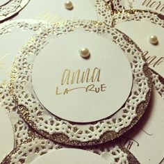 Gold Circular Sorority Name Tags with Lace Detail | #nametags