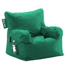 Beanbag lounge chair in emerald with a drink holder and side pocket. Made in the USA.  Product: Lounge chairConstruc...