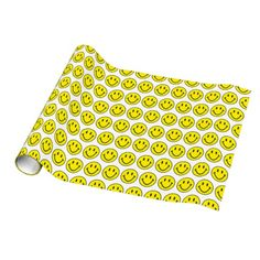 Happy Yellow Smiles Wrapping Paper Template