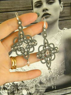 Sherazade  earrings tatting pattern by Happyland87 on Etsy