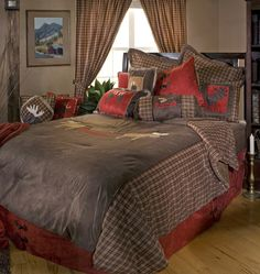 The Moose Plaid Bedding Set will add a rugged flair to your contemporary home, log cabin, rustic lodge, or western ranch home. Visit us online or call for more rustic decor. Plaid Comforter, Comforter Sets, Camo Bedding, Rustic Bedding Sets, Cheap Room Decor, Bed In A Bag, Formal Living Rooms, Cool Rooms, Bedding Collections
