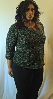"""Black Blouse With Green and White Polka Dots-Size 2x by Liz Claiborne-Polyester and spandex-Width 44""""/ Length 28""""-Ties at neck-Free shipping on this item #plussize"""