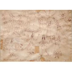 """ROSINA BECKER DO VALLE (1914 - 2000)  """"Maracatú""""   Desenho a caneta esferográfica 1969   23 x 31 cm  reproduzido no Leilão TNT de Primavera 01 de outubro de 2009  Importante artista brasileira, entre 1957 a 1959 estudou pintura com Ivan Serpa no Museu de Arte Moderna do Rio de Janeiro - MAM/RJ"""