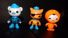 Octonauts Kwazii Cat ,Peso& Captain Barnacles PVC Articulated Toy Figure Lot  #Mattel