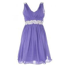 Purple Diamante Prom Dress ($78) ❤ liked on Polyvore