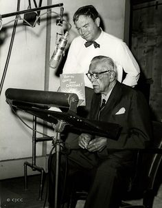 """Publicity photo of Boris Karloff and Chuck Jones at the recording session for """"Dr. Seuss' How the Grinch Stole Christmas"""""""