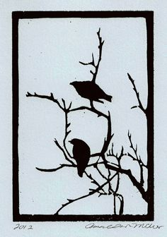 Birds and Branches Woodblock Print Matted Black by edamamepress, $20.00