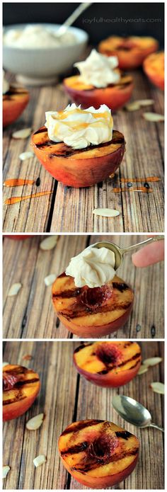 Grilled Peaches with Maple Honey Mascarpone Cheese | www.joyfulhealthyeats.com | #grillrecipes #healthy #fruit #light #dessert