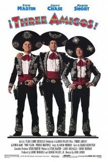 Three Amigos (marketed as ¡Three Amigos!) is a 1986 American western comedy film directed by John Landis and written by Lorne Michaels, Steve Martin, and Randy Newman. Steve Martin, Chevy Chase, and Martin Short star. 80s Movies, Funny Movies, Comedy Movies, Great Movies, Awesome Movies, Funniest Movies, Famous Movies, Chevy Chase, Steve Martin
