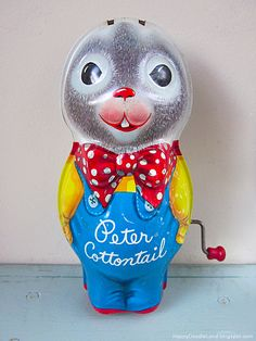 Vintage Peter Cottontail Wind-Up Toy is missing his ears -- my kids had this toy -- probably an Easter gift.