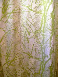 modern birch branch green shower curtain or panel 80x60