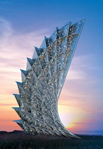 Corpus Christi Texas A & M University Wave monument to promise of rebirth in the Gulf after devastation of Hurricane Celia LNV Engineering helped install the 35 m high stainless steel edifice http://www.lnvinc.com/services/structural.html
