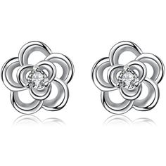 Pair of Floral Shape Zircon Silver Plated Hollow Out Stud Earrings for... ($2.55) ❤ liked on Polyvore featuring jewelry, earrings, stud earrings, zircon earrings, floral jewelry, silver plated jewelry and zircon jewelry
