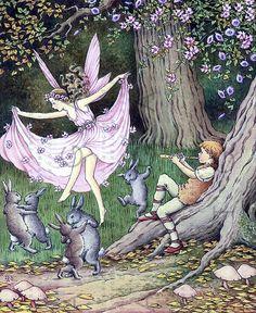Fairy Dances with Bunnies Fab Digital Vintage Spring by Artgaze