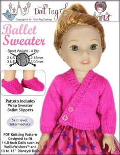 Knit an adorable ballet sweater for your 14.5 inch doll. This pattern also includes instructions for ballet booties! Your doll will be ready to dance with sweaters made from this doll knitting pattern. Knitting pattern by Doll Tag Clothing from Pixie Faire.