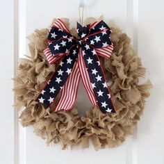 20% off coupon - Patriotic Rag Wreath - Ready to Ship by Creazi on Etsy