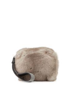 Monili Mink Fur Cube Wristlet Clutch Bag, Clay - Brunello Cucinelli