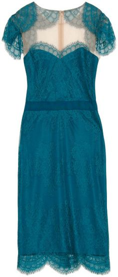Notte By Marchesa Green Scallop Cape Lace Cocktail Dress